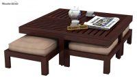 Buy Dallas Coffee Table With Stools (Mahogany Finish ...