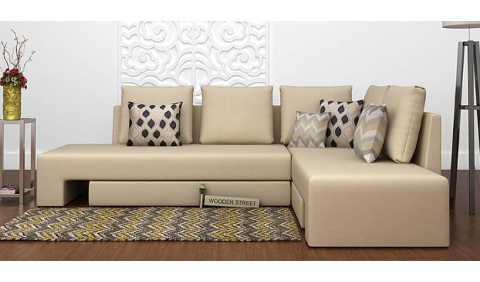 2 seater l shaped sofa bed sectional hideabed sofas buy mckellen shape right arm corner cum (ivory ...