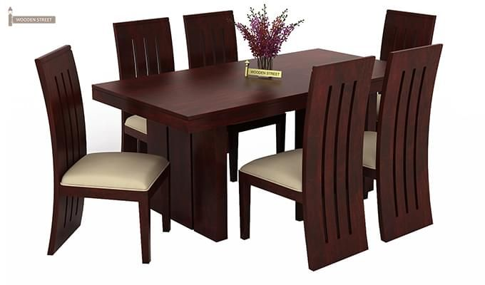dining chair covers set of 6 india kids play chairs buy wertex seater (mahogany finish) online in - wooden street