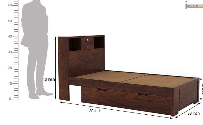 Buy Felton Single Bed With Storage Walnut Finish Online