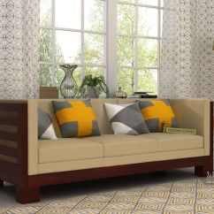 Buy Used Sofa Set In Delhi Cindy Crawford Home Bellingham Hydra Hizen 3 Seater Wooden Mahogany Finish Online