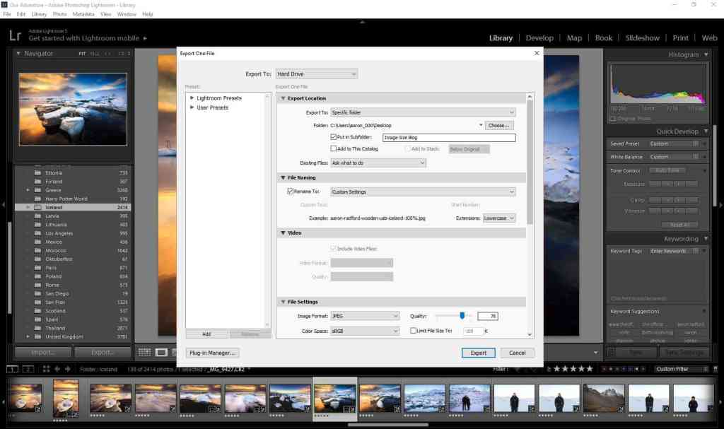 adobe lightroom export dialog box showing quality setting at 76%