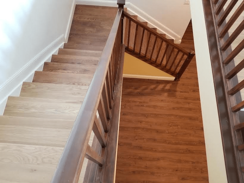 Wood Floor Of The Week Clever Staircase Transitions From Light To | Hardwood Floor To Stair Transition | Tile | Molding | Vinyl Plank | Laminate | Carpeted Stairs