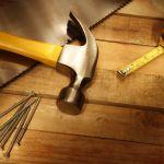 14842926 – assorted work tools on wood