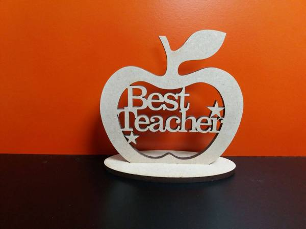 Teacher Apple With Stand 10cm X Woodform Crafts