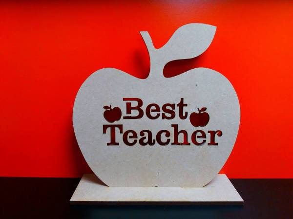 Teacher Cut Apple With Stand 10cm X