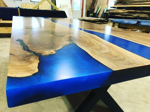 wooden kitchen tables chandelier lighting blue epoxy river wood table powered by woodify