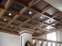 Wood Ceiling in Loft with Tin Panels * WoodGrid Coffered