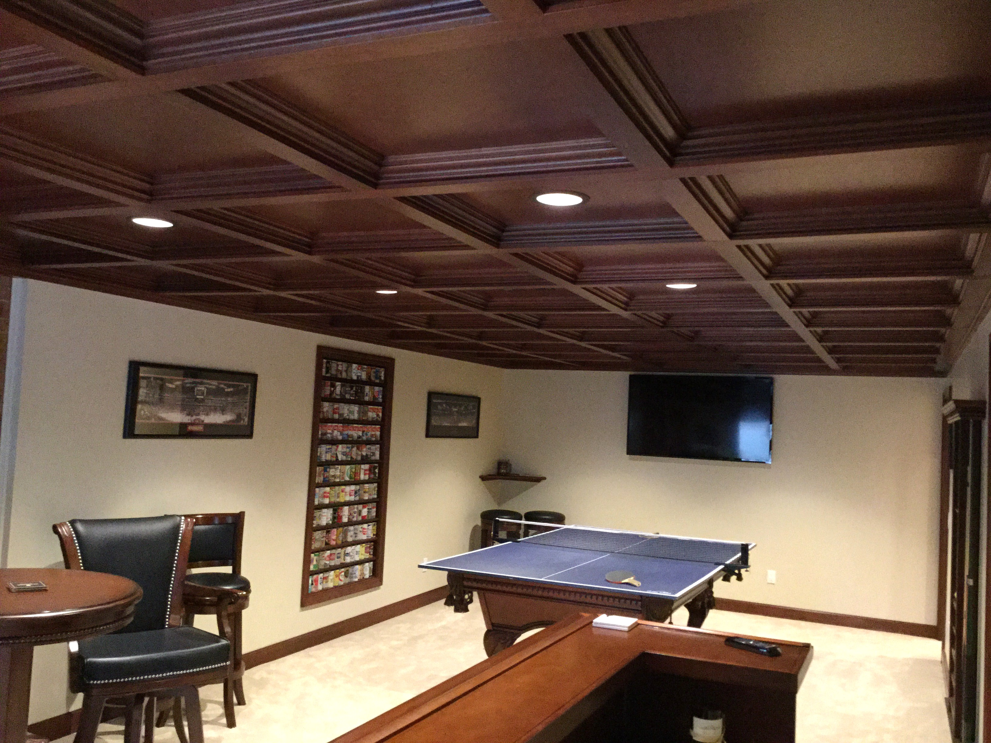 BasementsBarsGame  WoodGrid Coffered Ceilings by