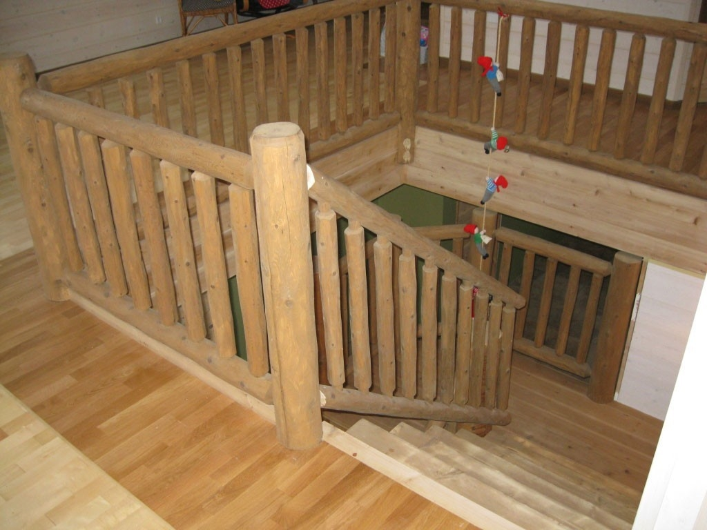 Log Home Accessories Woodhaven | Knotty Pine Stair Railing | Tongue Groove | Antique Wooden Stair | Log | White | Newel Post