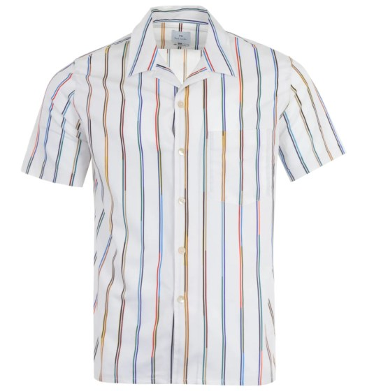 PS Paul Smith Championship Stripe Short Sleeve Shirt - White