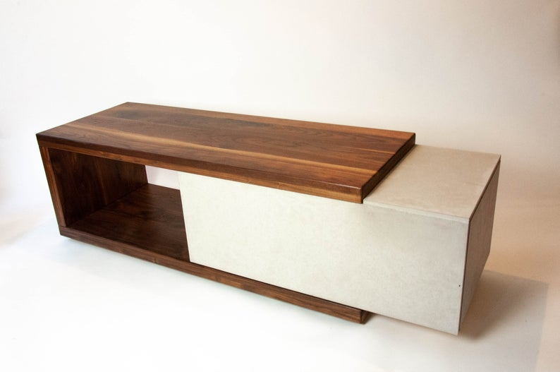 walnut wood concrete coffee table or