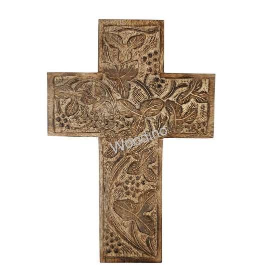 Woodino Wood Jesus Cross Fancy Carving Wall Decor