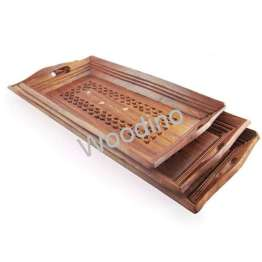 Woodino Coffee Set of 3 Wooden Tray