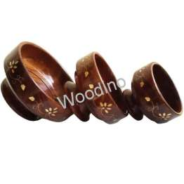 Woodino Brass Work Wooden Bowl Set