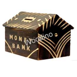 Woodino Hut Shaped Antique Look Money Bank