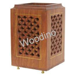Woodino Wooden Jaali Brass Stand Points Pen Jar