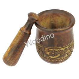 Woodino Wooden Masher, Okhli of Mango Wood