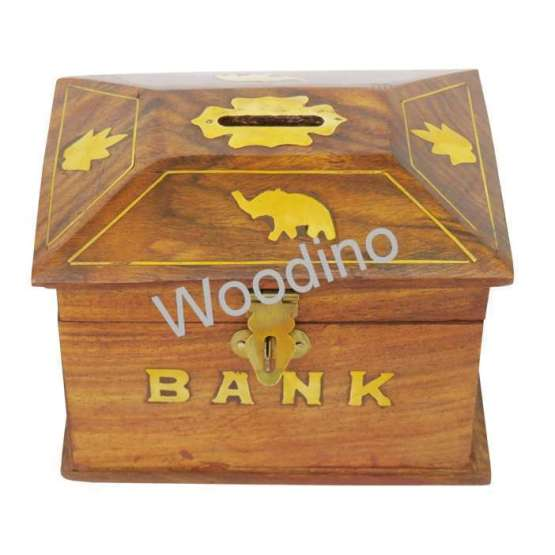 Woodino Hut Shape Wooden Chest Coin Bank