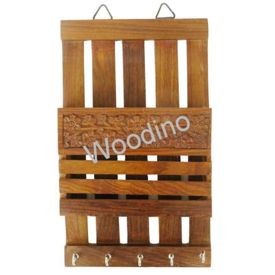 Woodino Carved Wooden Wall Latter Rack