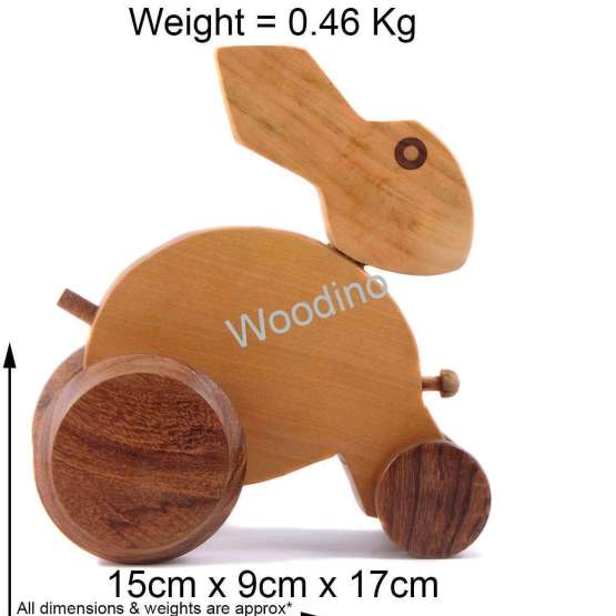 Woodino Hand Push Pulled Wooden Rabbit Toy