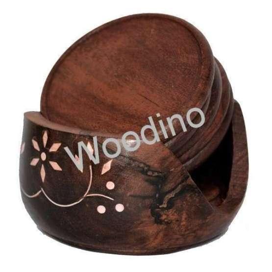 Woodino Wooden Round 3.5 Inch Lotus Coaster Set