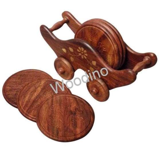 Woodino Brass Work Embossed Trolley Coaster Set