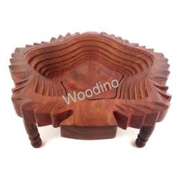 Woodino Sheesham Leaves Folding Spring Tray