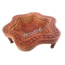 Woodino Star Shaped Wooden Folding Spring Tray