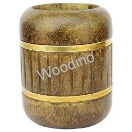 Woodino Antique Golden Round Pen Jar