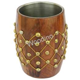 Woodino Steel Cup Inside Brass Heavy Work Pen Jar