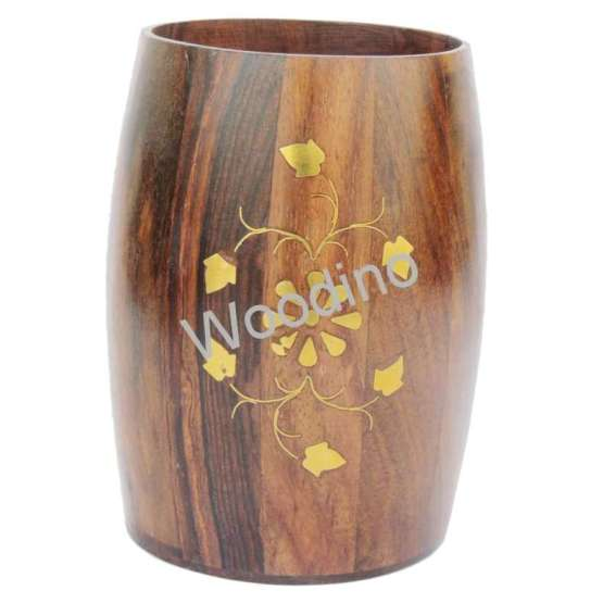 Woodino Brass Embossed Work Premium Quality Pen Jar