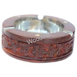 Woodino Sheesham Wood Carving Work Round Ashtray