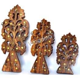 Woodino Brass Work Tree Set of 3 Key Holder