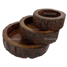 Woodino Premium Gifts Tree Bark Covered Bowl set of 3
