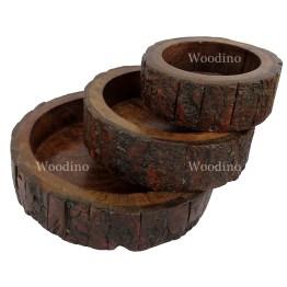 Woodino Premium Gifts Tree Bark Covered Bowl set of 3