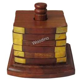 Woodino Pole Design Square Premium Coaster Set