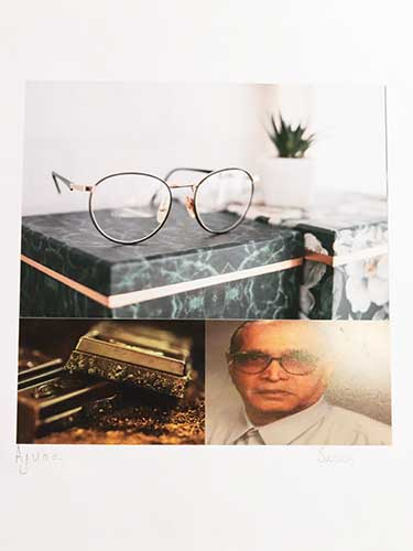 A collage shows a photo of a man and glasses and items presumably connected with him.