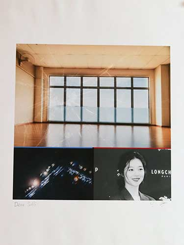 Photo collage of a building interior and a K-Pop singer