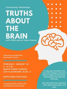 """Poster for """"Truths About the Brain,"""" Thursday, Jan. 23, 5-6 p.m., NC Campus"""