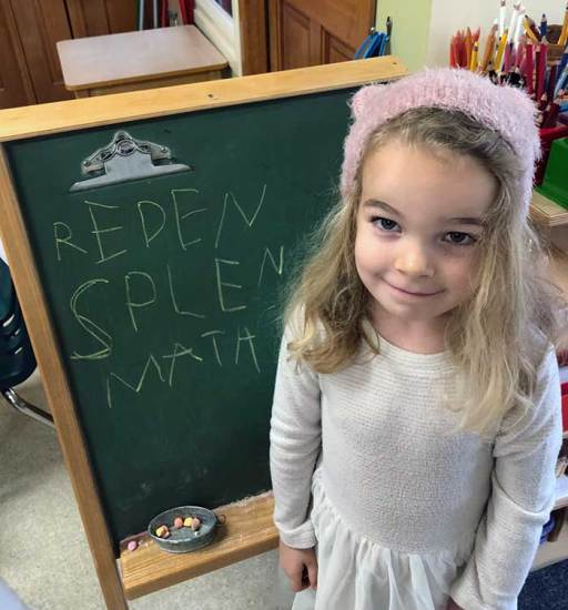 A preschool girl stands in front of a green chalkboard easel