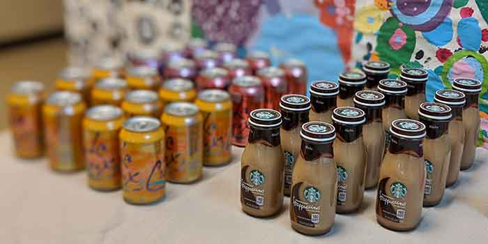 Fruit and coffee beverages lined up