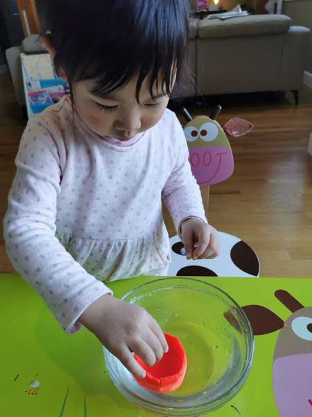 A child places an orange item in a clear bowl of water