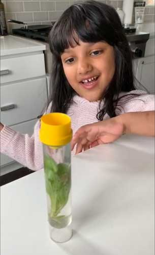 A preschool student smiles at a plant in a tube