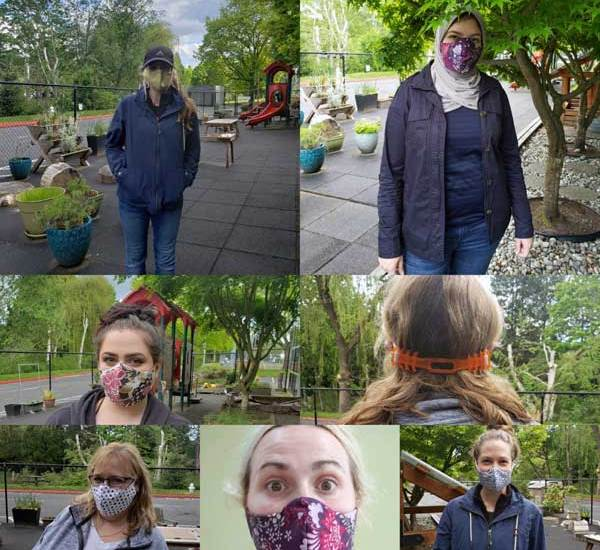 Seven women model the face masks and ear-savers donated to them