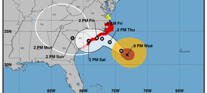 Projected path of Hurricane Florence from National Hurricane Center 8:00 p.m. Please continue to monitor the storm.