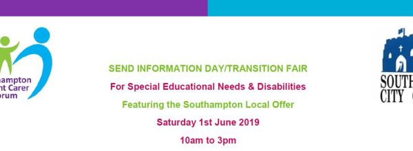 Southampton Parent Carer & Southampton City Council's SEND Information and Transition Fair – 1st June – Details here