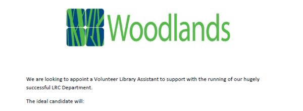 Vacancy – LRC (Library) Volunteer
