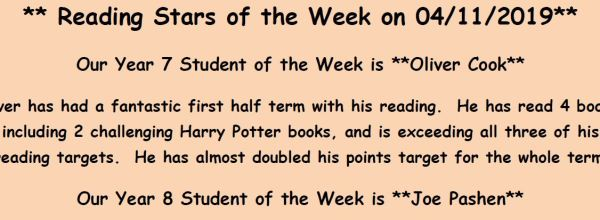 Reading Stars of the Week 05/11/2019