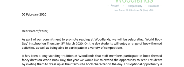 World book day letter
